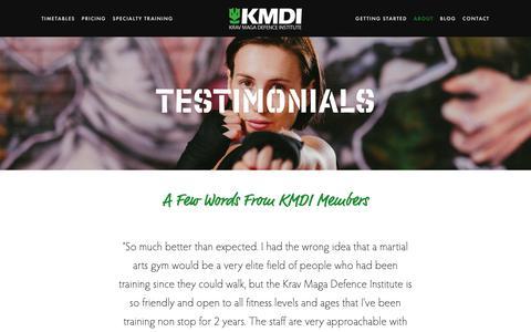 Screenshot of Testimonials Page kmdi.com.au - Testimonials — Krav Maga Defence Institute | Sydney's #1 Self-Defence Gym - captured Dec. 20, 2018