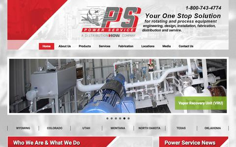 Screenshot of Home Page powerserviceinc.com - Power Service, A DistributionNOW Company – Your One Stop Solution for Rotating and Process Equipment - captured July 21, 2018