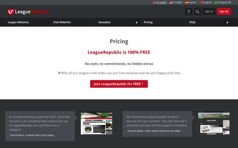 Screenshot of Pricing Page leaguerepublic.com - Pricing Structure - captured Sept. 22, 2014