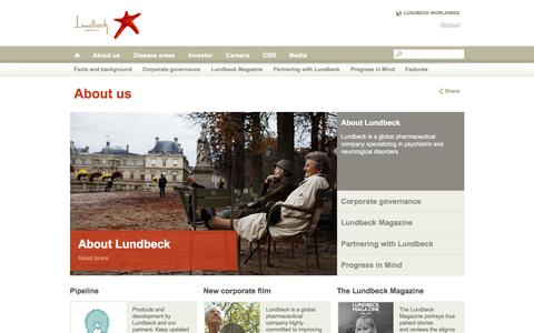 Screenshot of About Page lundbeck.com - About Lundbeck - captured Nov. 5, 2016
