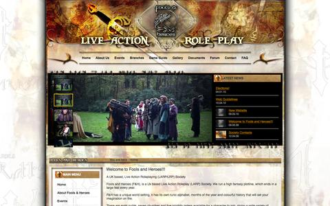 Screenshot of Home Page foolsandheroes.org - Fools and Heroes: LARP in the UK - captured Oct. 9, 2015