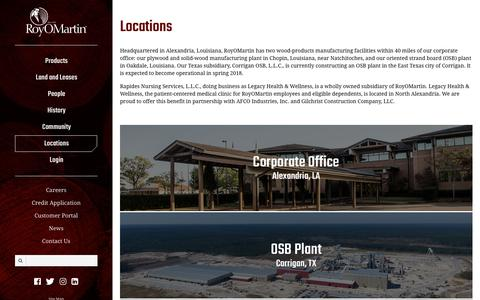 Screenshot of Locations Page royomartin.com - RoyOMartin | Locations - captured Sept. 21, 2018