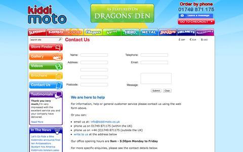 Screenshot of Contact Page kiddimoto.co.uk - Contact Us - captured Sept. 19, 2014