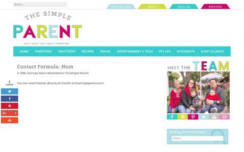 Screenshot of Services Page thesimpleparent.com - Contact Formula Mom - Formula Mom: Houston Mom Blog - captured Oct. 23, 2017
