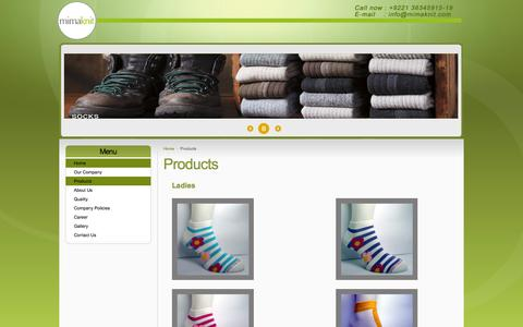 Screenshot of Products Page mimaknit.com - MIMA KNIT (PVT) LTD - Products - captured Oct. 3, 2014