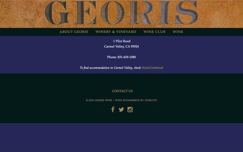 Screenshot of Contact Page georiswine.com - Georis Wine - Contact Us - captured Nov. 5, 2016
