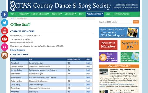 Screenshot of About Page cdss.org - About Us/Contact - Country Dance & Song Society - captured May 10, 2016