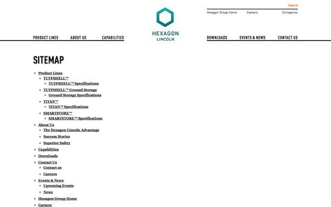 Screenshot of Site Map Page hexagonlincoln.com - Hexagon Lincoln - Safe, efficient and durable Type 4 cylinders from a manufacturer you can trust - captured Sept. 30, 2014