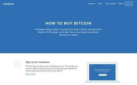 Screenshot of coinbase.com - How To Buy Bitcoin - Coinbase - captured March 19, 2016