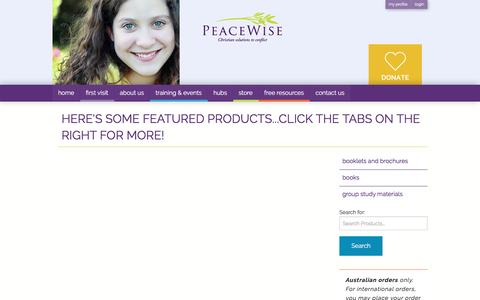Screenshot of Products Page peacewise.org.au - PeaceWise » Christian solutions to conflict - captured May 15, 2017