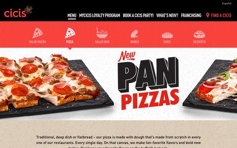 Screenshot of Menu Page cicispizza.com - Pizza - captured Sept. 24, 2018