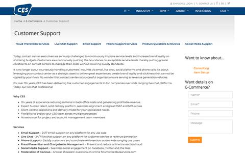 Screenshot of Support Page cesltd.com - .: Services – Business Process Outsourcing (BPO) | E-Commerce, Market Research and More | CES :. - captured Sept. 25, 2018