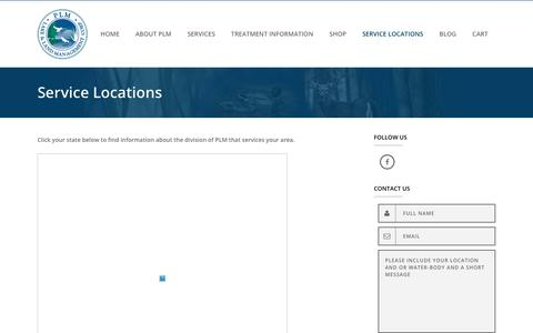 Screenshot of Contact Page Locations Page plmcorp.net - Service Locations | PLM Lake and Land Management Corp. - captured July 8, 2017