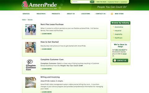 Screenshot of Services Page ameripride.com - Uniform and Linen Services -  AmeriPride - captured Oct. 4, 2014