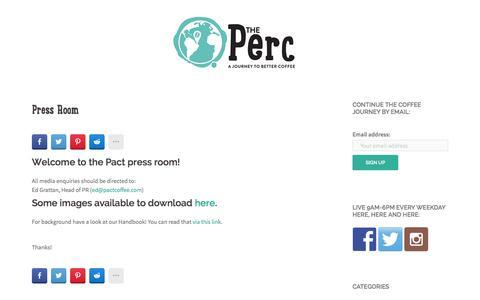Screenshot of Press Page pactcoffee.com captured Dec. 4, 2015