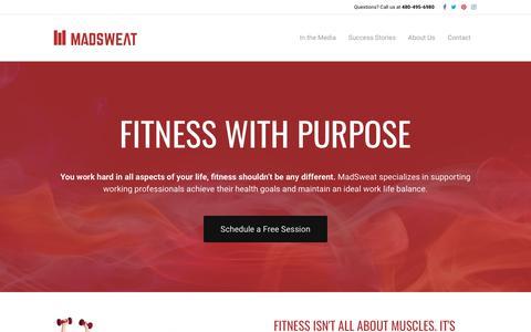 Screenshot of Home Page madsweat.com - MadSweat – Scottsdale, AZ – Personal Training - captured July 25, 2018