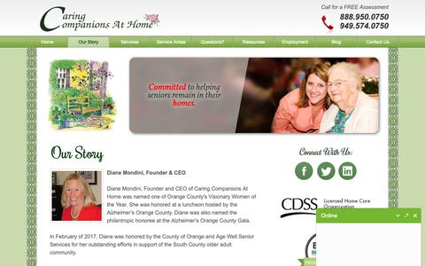 Screenshot of About Page caringcompanionsathome.com - About Our In-Home Caregiving Agency | Caring Companions At Home - captured Sept. 27, 2018
