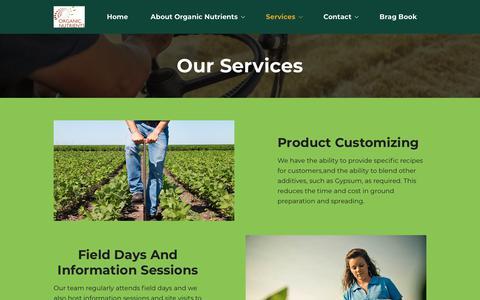 Screenshot of Services Page organicnutrients.com.au captured Oct. 19, 2018