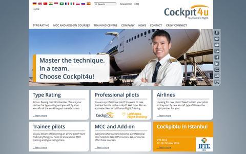 Screenshot of Home Page cockpit4u.com - Cockpit4u - Start - captured Oct. 3, 2014