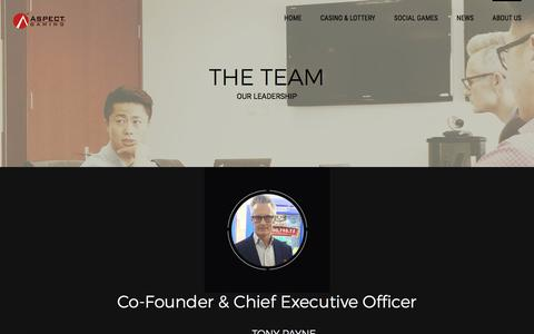 Screenshot of Team Page aspectgaming.com - LEADERSHIP - Our Executive Team & Experience | ASPECT GAMING - captured May 30, 2017