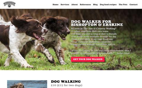 Screenshot of Home Page bdws.co.uk - Dog walking for Erskine, Bishopton & Dargavel | BDWS - captured Oct. 5, 2018