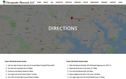 Screenshot of Maps & Directions Page chesapeakeplywood.com - Directions Chesapeake Plywood - captured Dec. 8, 2018