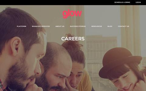 Screenshot of Jobs Page thisisglow.com - Careers • Glow - captured Jan. 30, 2016