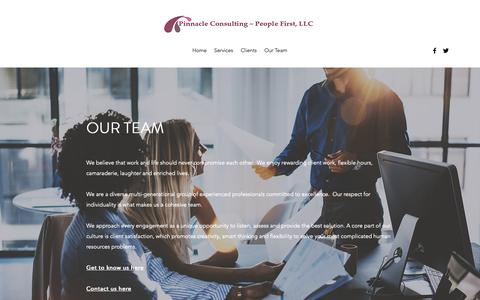 Screenshot of Team Page pinnaclepeoplefirst.com - Our Team | Pinnacle Consulting - captured Nov. 2, 2018