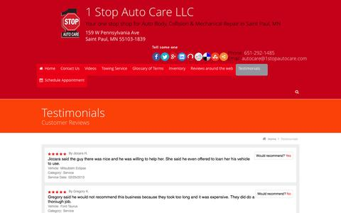 Screenshot of Testimonials Page 1stopautocare.com - Testimonials - captured Dec. 2, 2016