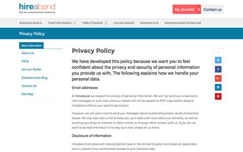 Screenshot of Privacy Page hireaband.co.uk - Hireaband Entertainment Agency | Privacy Policy - captured Nov. 10, 2016