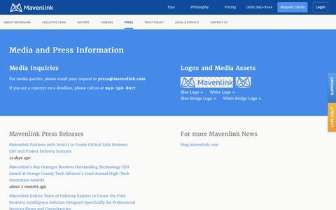 Screenshot of Press Page mavenlink.com - Media and Press Information - Mavenlink - captured Dec. 3, 2015