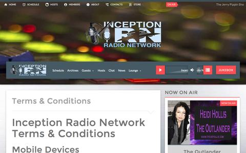 Screenshot of Terms Page inceptionradionetwork.com - Terms & Conditions | Inception Radio Network User Terms & Conditions - captured Jan. 14, 2017