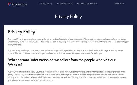 Screenshot of Privacy Page provectus.com - Privacy Policy - captured Sept. 14, 2019