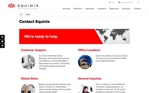 Screenshot of Contact Page telecitygroup.com - Contact Equinix - Equinix Global Contact Informaton - captured May 19, 2019