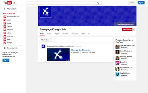 Screenshot of YouTube Page youtube.com - Bioespaço Energia, Lda  - YouTube - captured Oct. 25, 2014