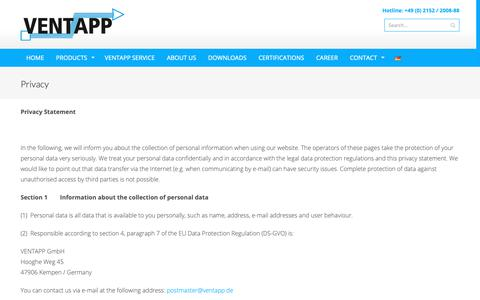 Screenshot of Privacy Page ventapp.de - Privacy - VENTAPP GmbH - captured Oct. 18, 2018