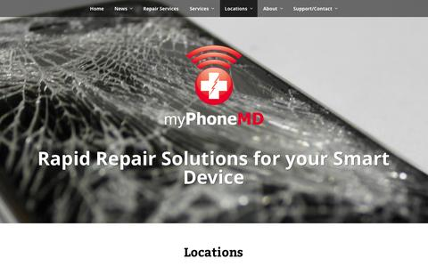 Screenshot of Locations Page myphonemd.net - Retail locations for smart device repair and accessories. | myPhoneMD - captured Oct. 28, 2014