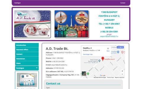 Screenshot of Contact Page adtradebt.hu - Exporter of Hungarian products, European Branch Office of Mexican products, Export representative of - captured July 25, 2018