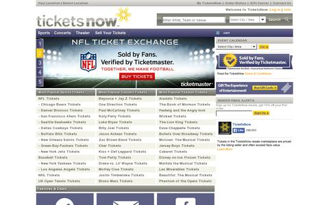 Screenshot of Home Page ticketsnow.com - Buy Tickets Online | Concert, Theater & Sporting Events Tickets | TicketsNow - captured July 11, 2014