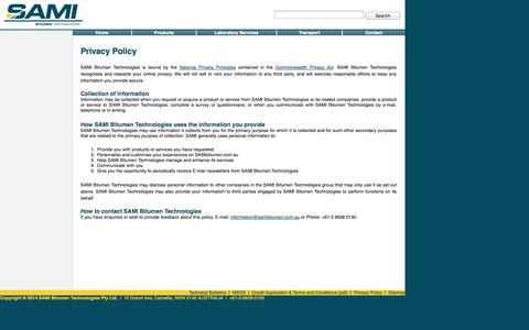 Screenshot of Privacy Page sami.com.au - Privacy Policy - SAMI Bitumen Technologies - captured Oct. 4, 2014