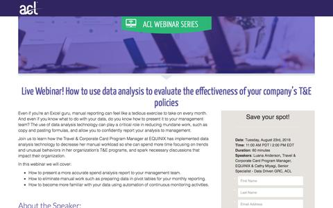 Screenshot of Landing Page acl.com - How to use data analysis to evaluate the effectiveness of your company's T&E policies - captured April 20, 2018