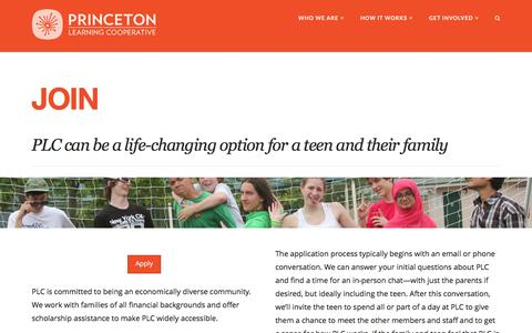 Screenshot of Signup Page princetonlearningcooperative.org - Join - Princeton Learning Cooperative | An alternative to school for teens - captured May 20, 2017