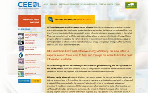 Screenshot of Case Studies Page cee1.org - Influencing Markets | CEE—Consortium for Energy Efficiency - captured Sept. 23, 2014