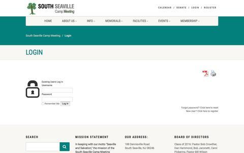 Screenshot of Login Page southseavillecampmeeting.org - Login | South Seaville Camp Meeting - captured May 22, 2016