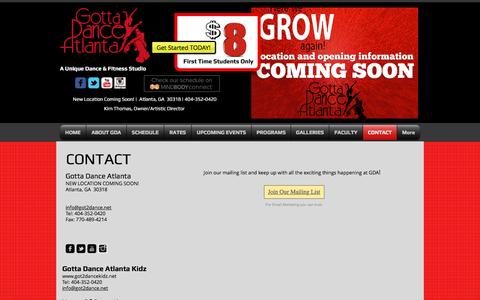 Screenshot of Contact Page got2dance.net - Contact Gotta Dance Atlanta, Atlanta GA, dance - captured Nov. 13, 2016