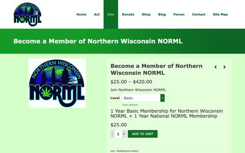 Screenshot of Signup Page northernwinorml.org - Become a Member of Northern Wisconsin NORML – Northern Wisconsin NORML - captured Oct. 18, 2018