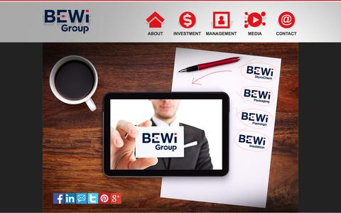 Screenshot of Home Page b-wigroup.com - BEWi GROUP - captured March 5, 2016