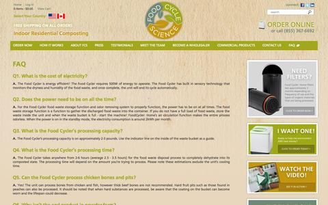 Screenshot of FAQ Page nofoodwaste.com - FAQ | Food Cycle Science | Food Waste Solutions | Recycling Machine for Food Waste - captured Oct. 6, 2014