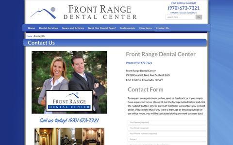 Screenshot of Contact Page frontrangedentalcenter.com - Contact Us | Fort Collins Dentist - captured Oct. 6, 2014
