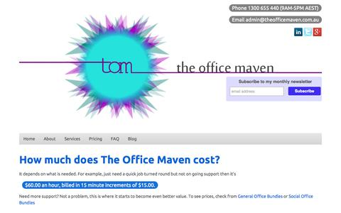 Screenshot of Pricing Page theofficemaven.com.au - The Office Maven - captured Oct. 9, 2014